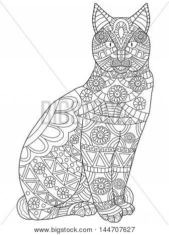 Cat Coloring pet adult vector illustration. Anti-stress coloring for adults. Zentangle style. Black and white lines.