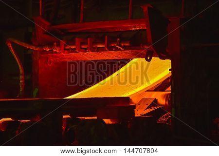 Hot-rolled steel process in steel industry plant.