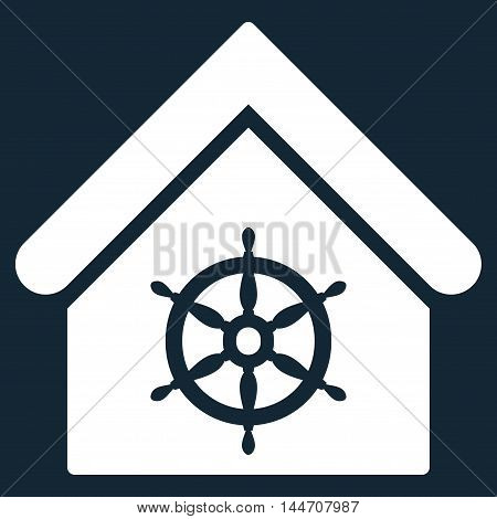 Steering Wheel House icon. Vector style is flat iconic symbol, white color, dark blue background.