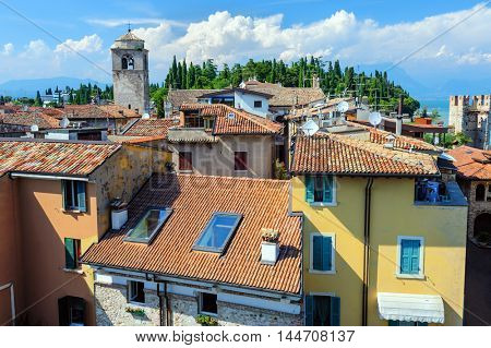 View to the old Roofs of Sirmione and from Scaliger castle