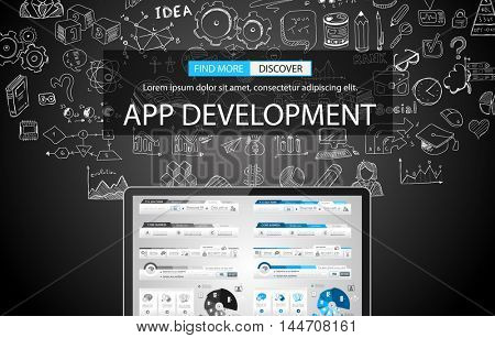 App Development Concept Background with Doodle design style background for Business Brocure or Corporate Flyer Covers.