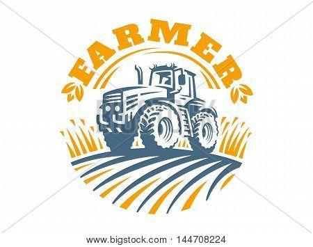 Tractor logo illustration on white background, emblem design