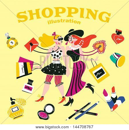 Illustration of girls doing shopping in a store