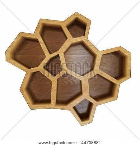 3D abstract empty wooden hexagonal  top shelf design