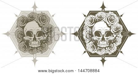 A vector illustration of Cool skull with roses and spikes tattoo set