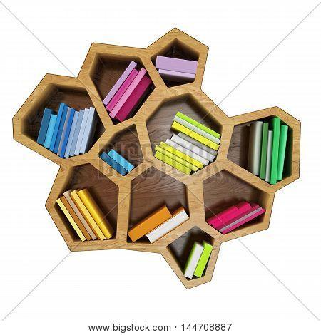 3D books on hexagonal shelf design ideas