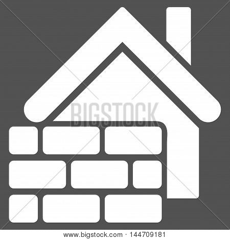 Realty Brick Wall icon. Vector style is flat iconic symbol, white color, gray background.