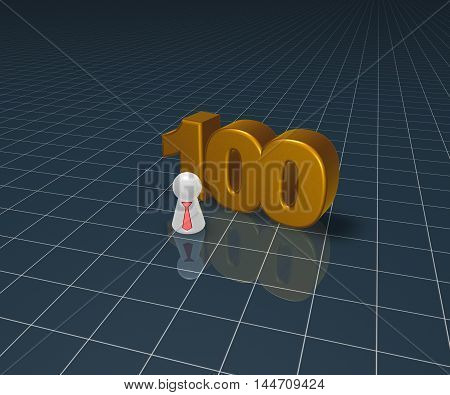 number one hundred and pawn with tie - 3d rendering