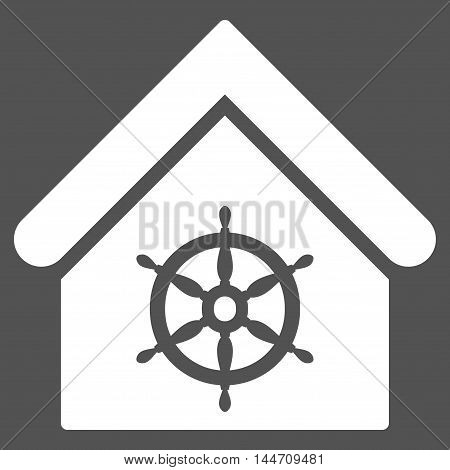 Steering Wheel House icon. Vector style is flat iconic symbol, white color, gray background.
