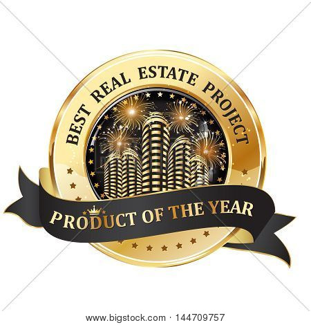 Best real estate project. Product of the Year - golden black ribbon / icon with fireworks