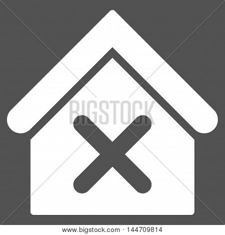 Wrong House icon. Vector style is flat iconic symbol, white color, gray background.
