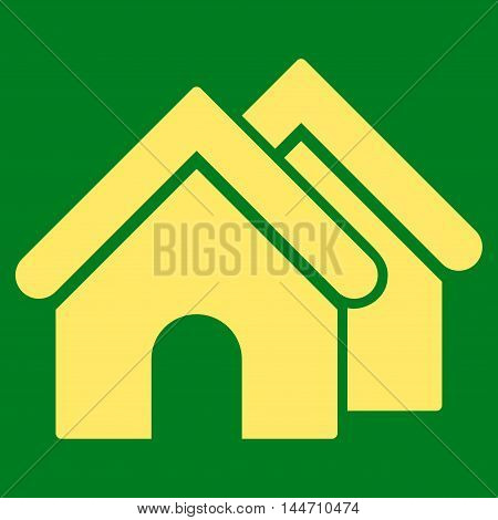 Real Estate icon. Vector style is flat iconic symbol, yellow color, green background.