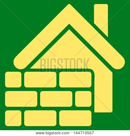 Realty Brick Wall icon. Vector style is flat iconic symbol, yellow color, green background.