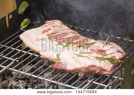 Close Up Of Grilled Meat While Cooking