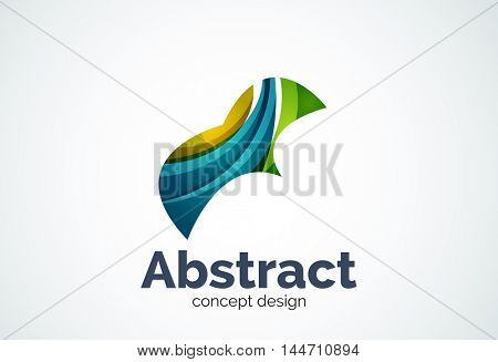 Abstract wave logo template, smooth motion concept. Color overlapping pieces design style