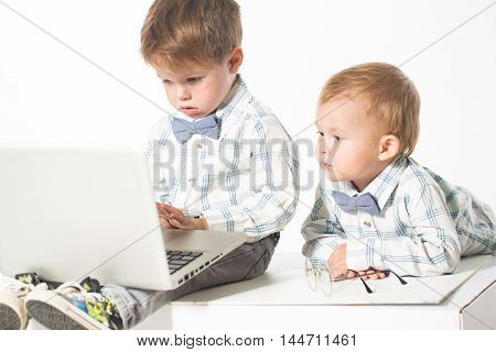 Two cute baby in business clothes with the glasses on the eyes with a laptop. Isolate photo in studio.