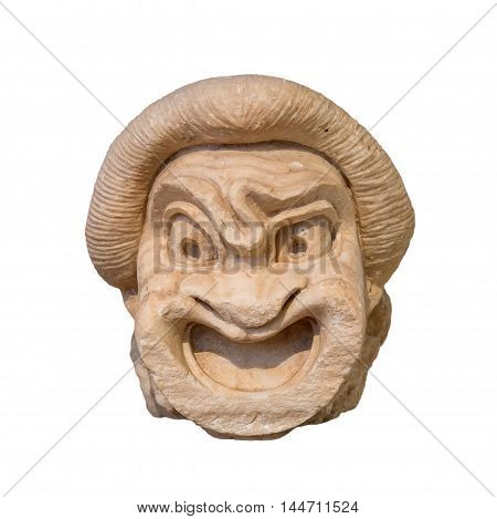 Ancient Greek theatre mask found in Athens, 2nd century BC.