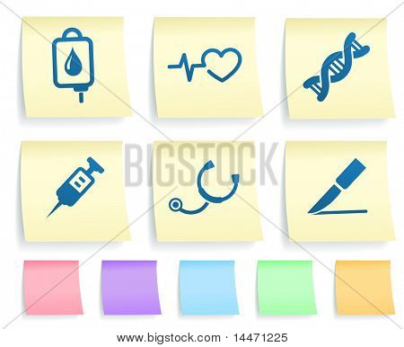 Medical Icons on Post It Note Paper Collection Original Illustration