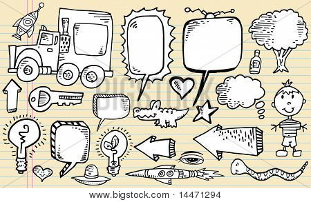Notebook Sketch Doodle Clip art Design Elements Mega Vector Illustration speech bubble Set
