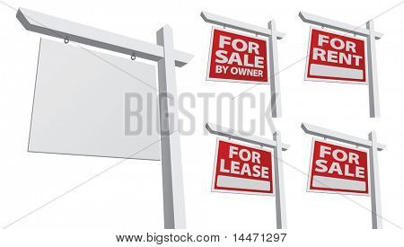 Set of Various Vector Real Estate Signs - Blank, For Sale By Owner, For Sale, For Rent and For Lease.