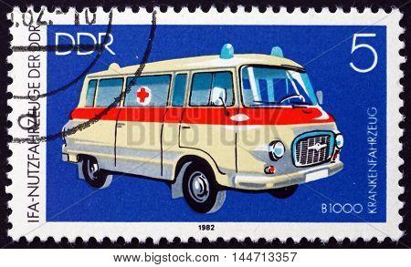 GERMANY - CIRCA 1982: a stamp printed in Germany shows Ambulance circa 1982