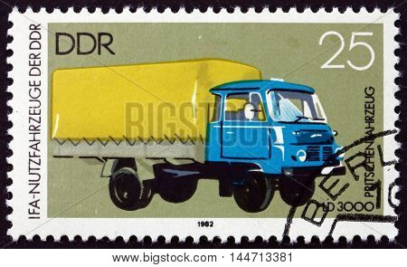 GERMANY - CIRCA 1982: a stamp printed in Germany shows Platform Truck circa 1982