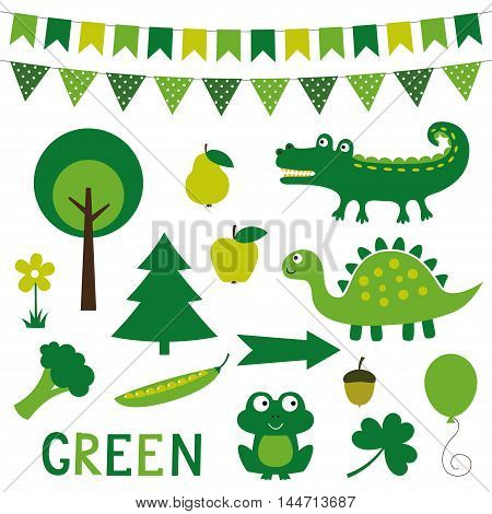 Decorative design elements in green color, isolated