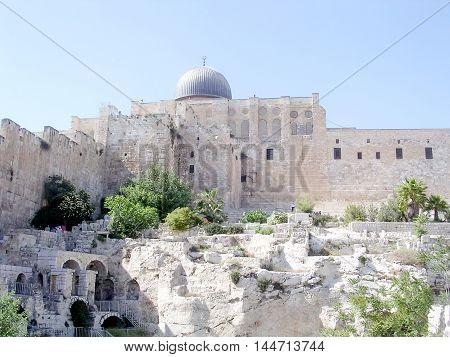 Jerusalem Israel - April 26 2005: Dome of Al-Aqsa Mosque.