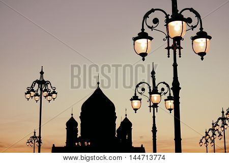 Christ the Savior Cathedral silhouette Moscow. Russia