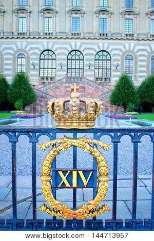 Swedish royal crown at the Royal Palace Square in Stockholm