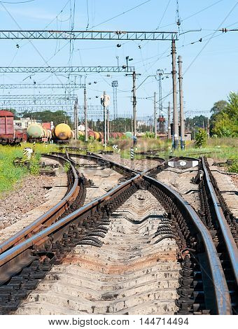 confusing railway tracks at day. Close up
