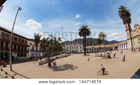 Zipaquira, Cundinamarca / Colombia - January 19 2016: View of the Plaza Los Comuneros. Square built in the colonial era, some are buildings like the Municipal Palace and the Cathedral of Zipaquira