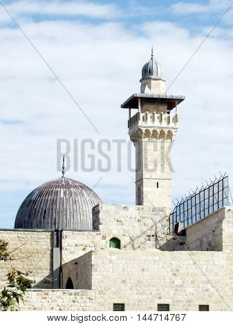 Jerusalem Israel - December 2 2012: Minaret and dome of Al-Aqsa Mosque in the old city.