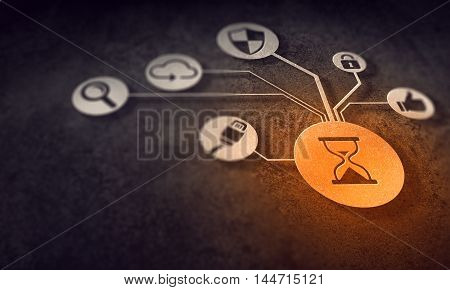 Digital background with social interaction and connection concept, 3D illustration