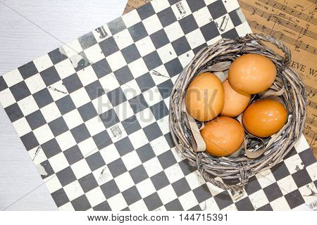 Plate With Chicken Eggs. Quail Eggs In A Wooden Bowl. Place For Text. Nutrition Protein Diet. Top Vi