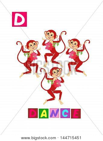 Cute Cartoon English Alphabet With Colorful Image And Word. Kids Vector Abc On White Background. Let