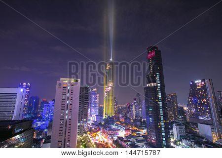 BANGKOK, Thailand - August 28 2016: View at MahaNakhon skyscraper in Bangkok,Thailand.