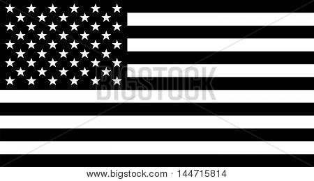 The 'Stars and Stripes' flag of the United States of America in black and white