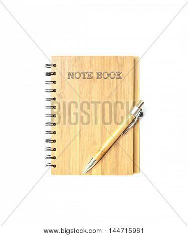 Closeup surface front of cover brown wooden note book with brown pen isolated on white background