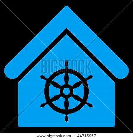 Steering Wheel House icon. Glyph style is flat iconic symbol, blue color, black background.
