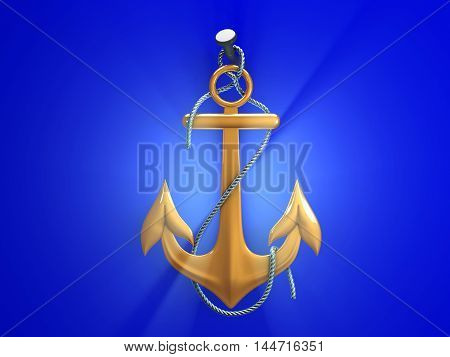 Gold anchor with metal rope isolated on a white background