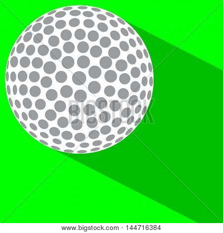 A golf ball on green with a shadow