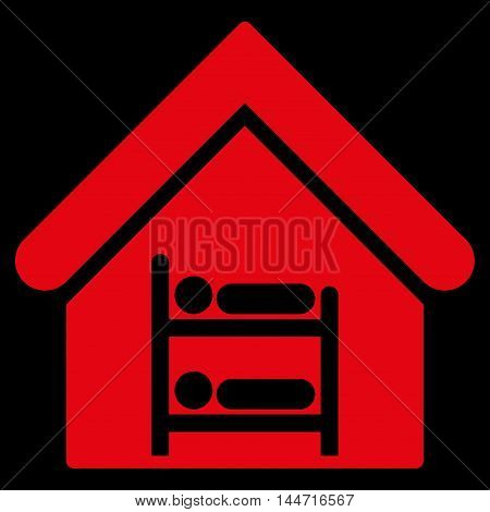 Hostel icon. Glyph style is flat iconic symbol, red color, black background.