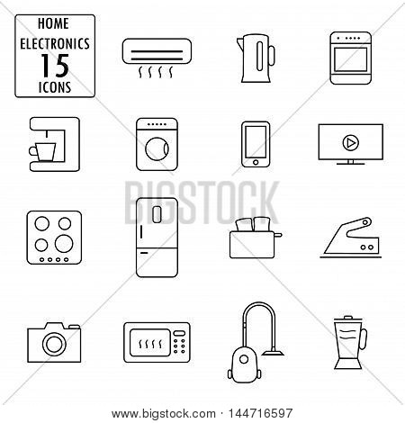 Set of household appliances icons, thin line, vector