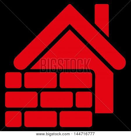 Realty Brick Wall icon. Glyph style is flat iconic symbol, red color, black background.