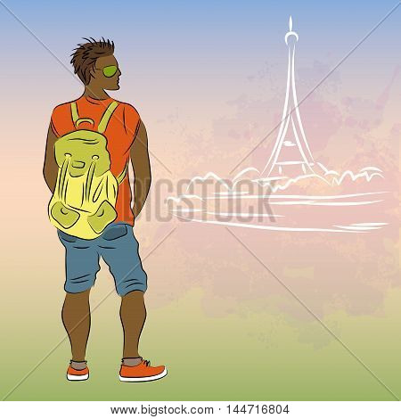Guy with the backpack on the background silhouette of the Eiffel Tower, vector illustration