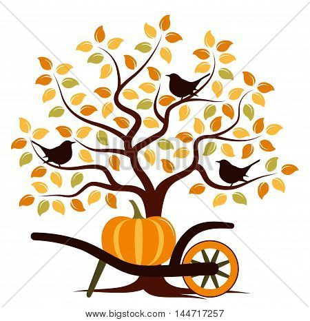 vector autumn tree with birds and hand barrow with pumpkin isolated on white background