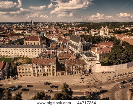 Aerial top view from UAV. Old Town in Vilnius, Lithuania: the Gate of Dawn, Lithuanian: Ausros Vartai, Polish: Ostra Brama. Beautiful representative photography