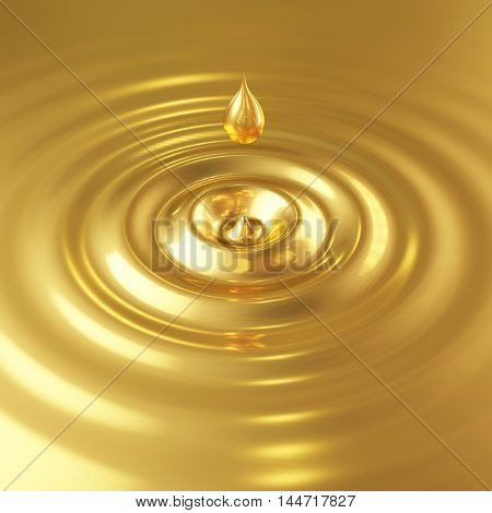 3D golden drop with waves in water background