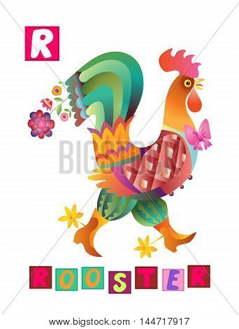 Cute cartoon english alphabet with colorful image and word. Kids vector ABC on white background. Letter R.